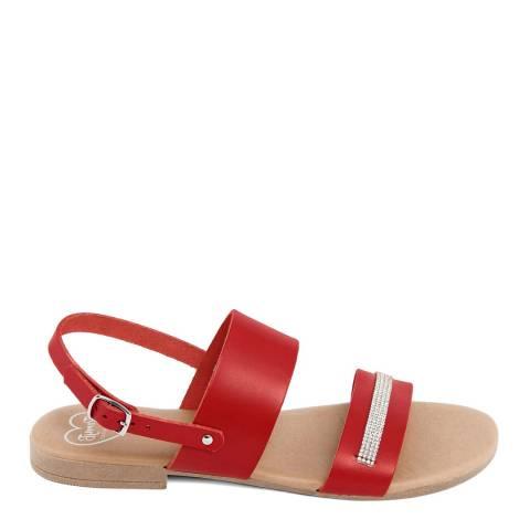 Romy B Red Leather Rhinestone Sandal