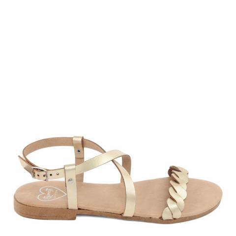 Romy B Gold Leather Crossover Braided Sandal