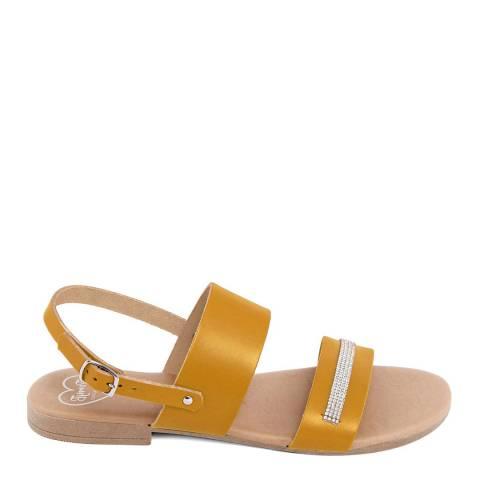 Romy B Mustard Leather Rhinestone Sandal