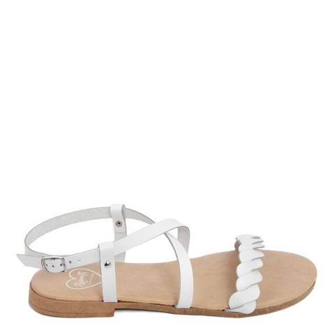 Romy B White Leather Crossover Braided Sandal