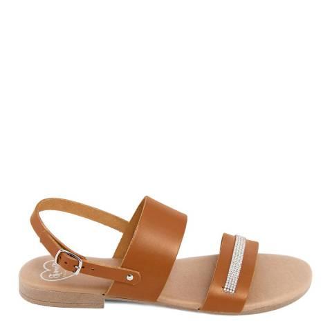 Romy B Tan Leather Rhinestone Sandal