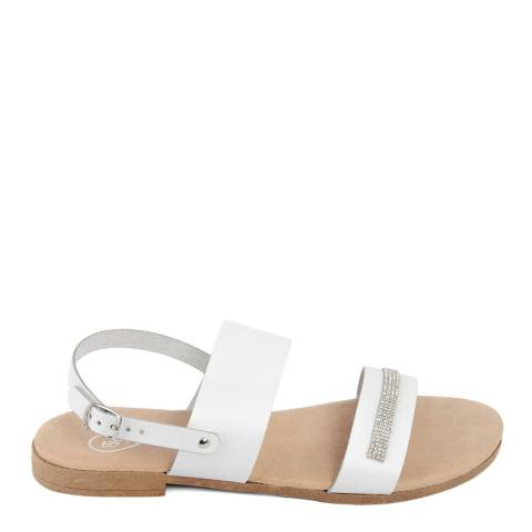 Romy B White Leather Rhinestone Sandal