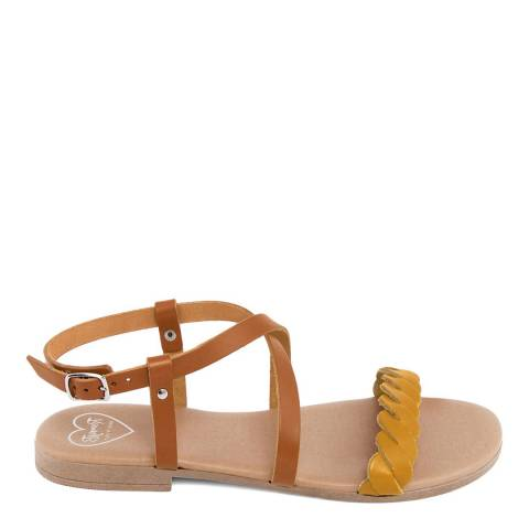 Romy B Tan Leather Crossover Braided Sandal