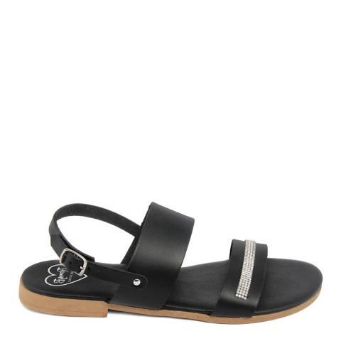 Romy B Black Leather Rhinestone Sandal