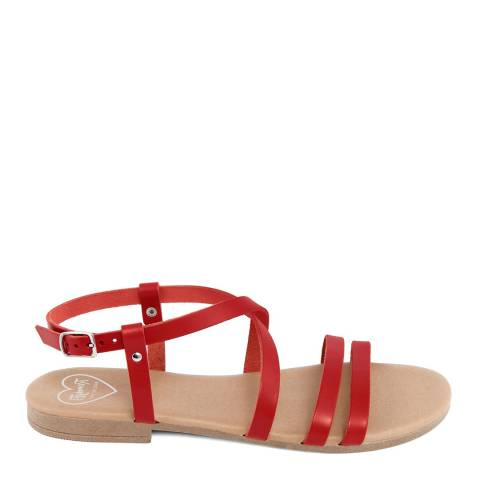 Romy B Red Leather Crossover Sandal