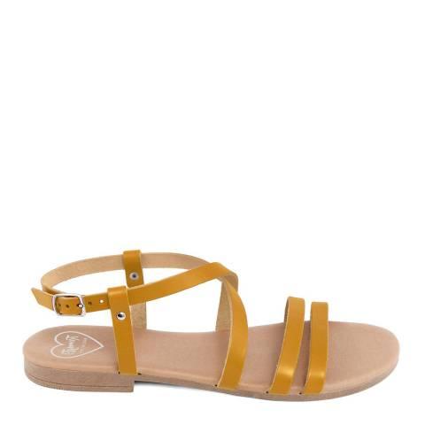 Romy B Yellow Leather Crossover Sandal