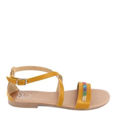 Romy B Mustard Leather Cross Strap Sandal