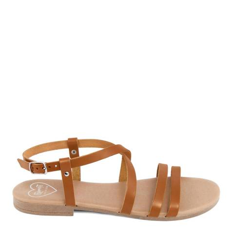 Romy B Tan Leather Crossover Sandal