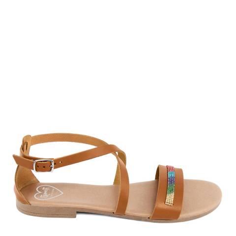 Romy B Tan Leather Cross Strap Sandal
