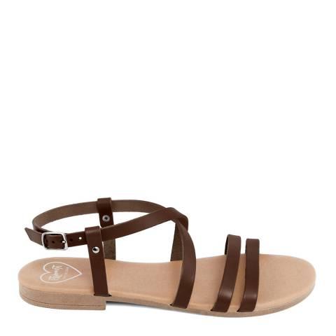 Romy B Brown Leather Crossover Sandal