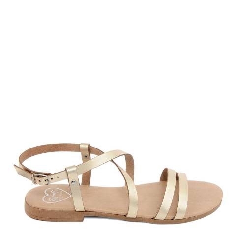 Romy B Gold Leather Crossover Sandal