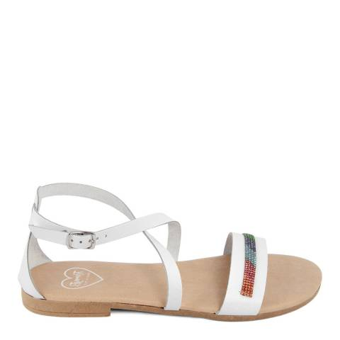 Romy B White Leather Cross Strap Sandal