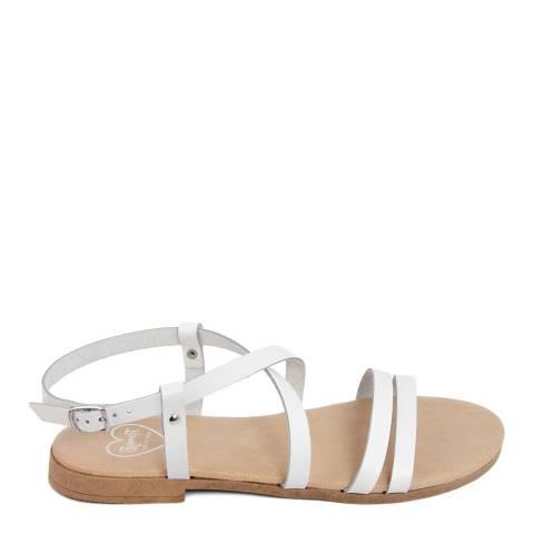 Romy B White Leather Crossover Sandal