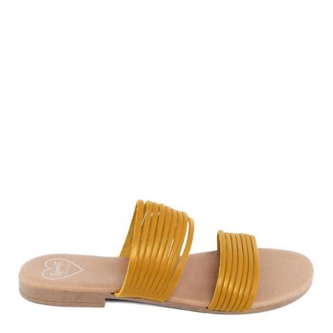 Romy B Mustard Leather Strappy Mule Sandal