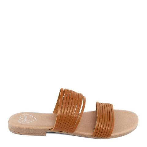 Romy B Tan Leather Strappy Mule Sandal