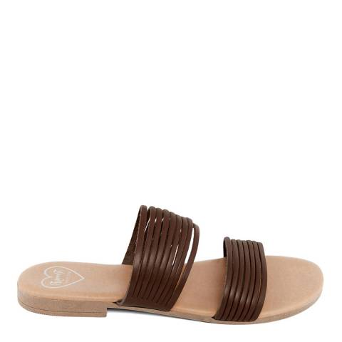 Romy B Brown Leather Strappy Mule Sandal