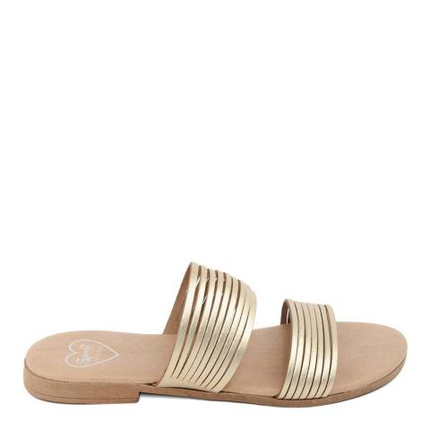 Romy B Gold Leather Strappy Mule Sandal