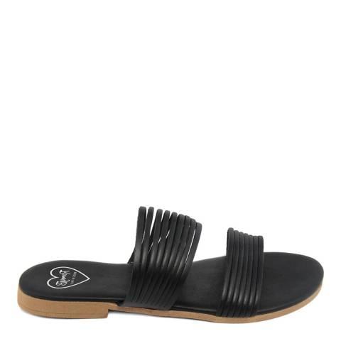 Romy B Black Leather Strappy Mule Sandal