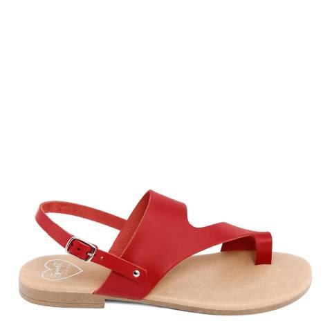 Romy B Red Leather Bandage Sandal
