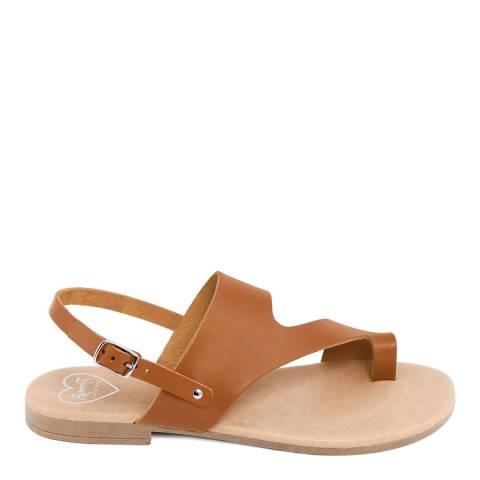 Romy B Tan Leather Bandage Sandal