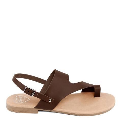 Romy B Brown Leather Bandage Sandal