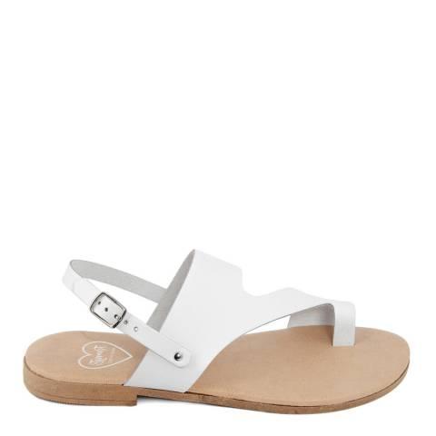 Romy B White Leather Bandage Sandal