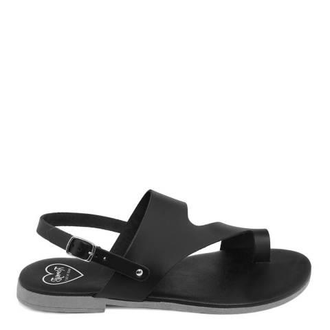 Romy B Black Leather Bandage Sandal
