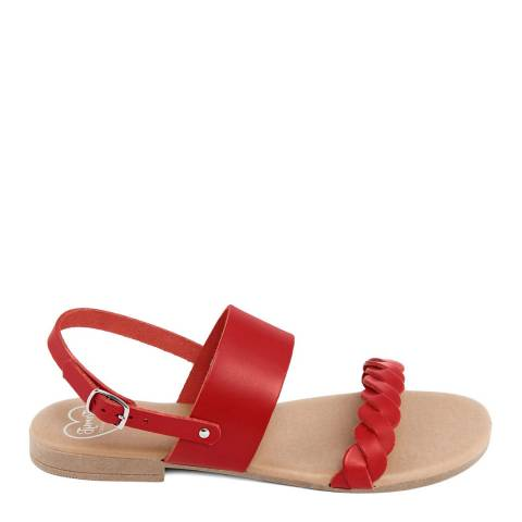 Romy B Red Leather Braided Flat Sandal