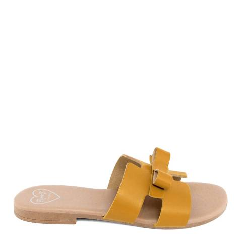 Romy B Mustard Leather Bow Slide Sandal