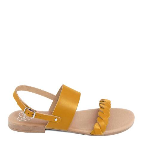 Romy B Mustard Leather Braided Flat Sandal