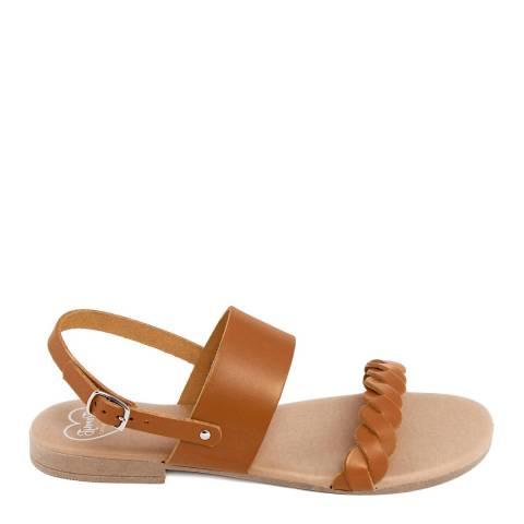 Romy B Tan Leather Braided Flat Sandal