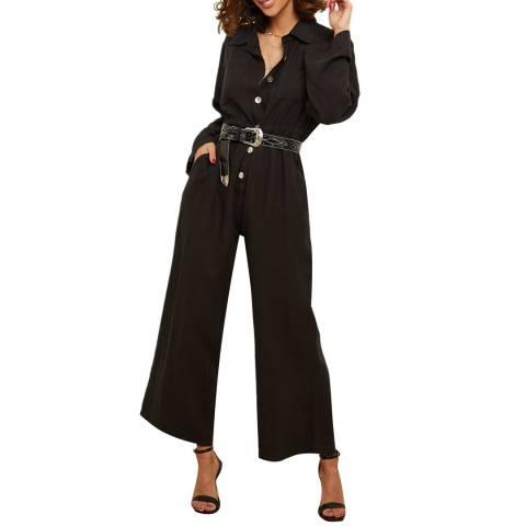 LE MONDE DU LIN Black Linen Wide Leg Jumpsuit