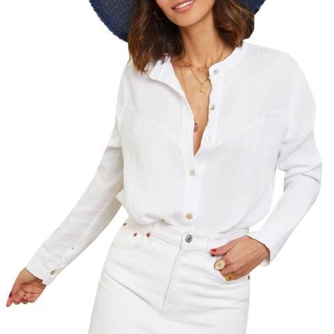 LE MONDE DU LIN White Round Neck Linen Shirt