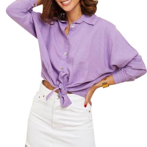 LE MONDE DU LIN Lilac Tie up Linen Shirt