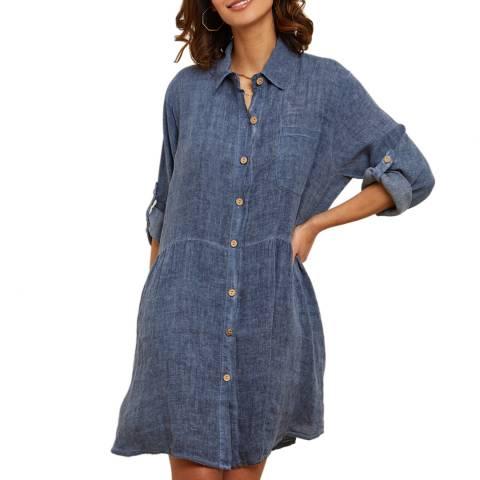 LE MONDE DU LIN Denim Blue Button Through Linen Dress