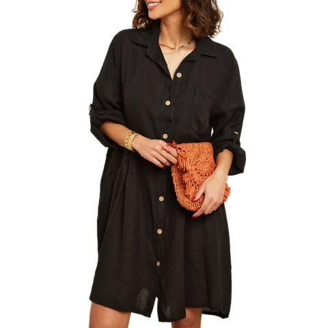 LE MONDE DU LIN Black Button Through Linen Dress