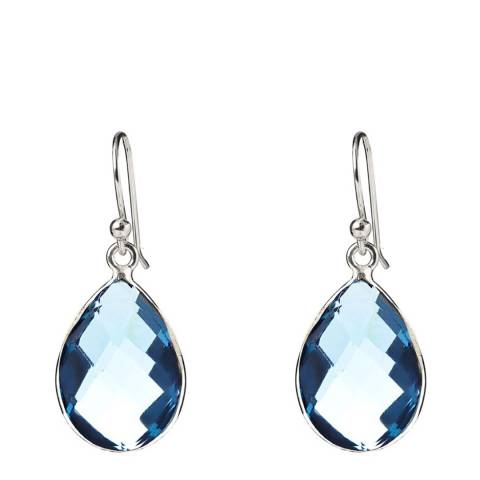 Liv Oliver Silver Plated Blue Topaz Pear Drop Earrings