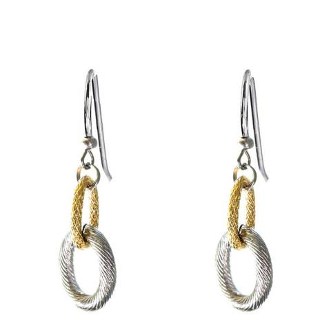 Liv Oliver 18K Gold Plated & Silver Plated Two Tone Textured Earrings
