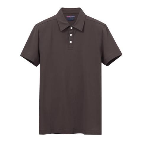 Richard James Charcoal Stretch Cotton Pique Polo Shirt