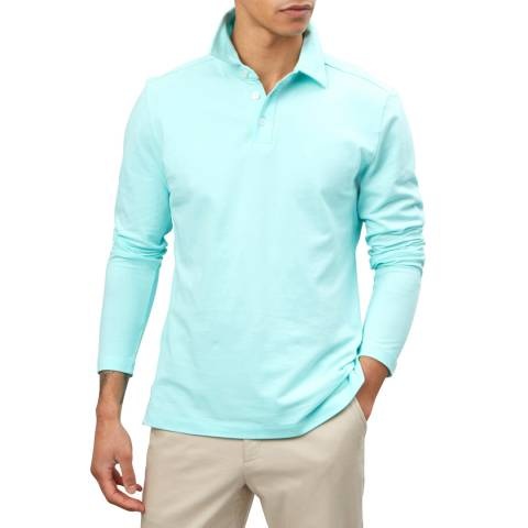 Richard James Blue Long Sleeve Pique Polo Shirt
