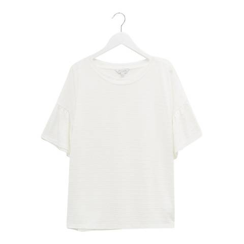Great Plains White Round Neck Cotton T-Shirt