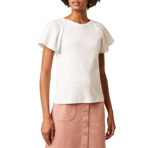 Great Plains White Ruffle Sleeve Cotton T-Shirt