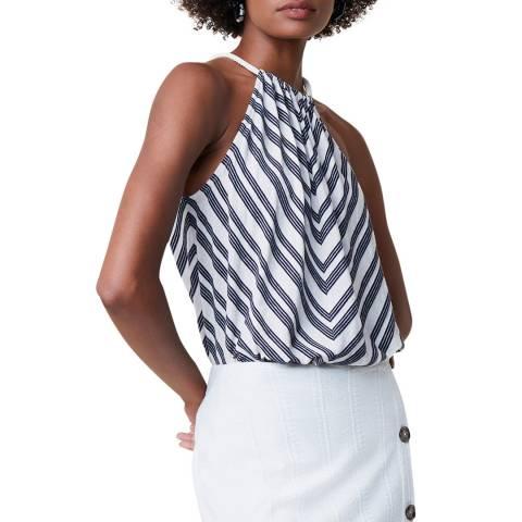Great Plains Black Stripe Tie Neck Cotton Blend Top