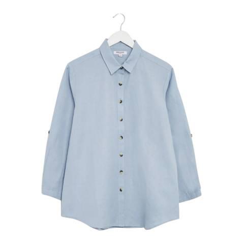 Great Plains Pale Blue Button Through Cotton Linen Blend Shirt