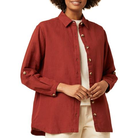 Great Plains Red Button Through Cotton Linen Shirt