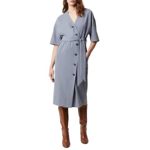 Great Plains Grey Button Through Tie Waist Dress