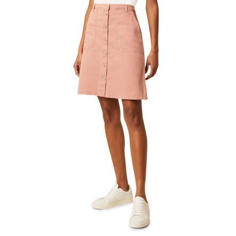 Great Plains Pink Button Through Structured Skirt