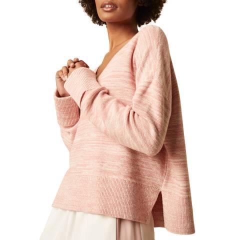 Great Plains Pink V Neck Cotton Blend Knit Jumper