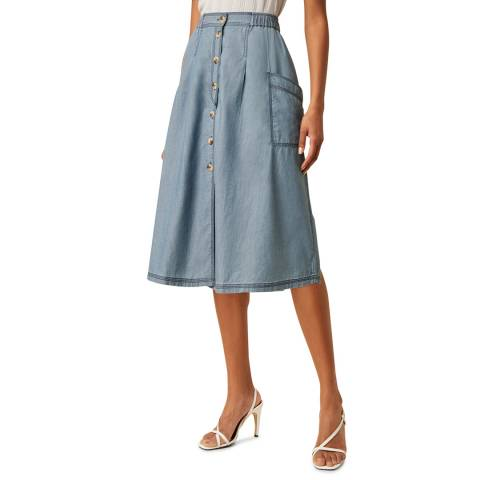 Great Plains Blue Button Through Cotton Skirt