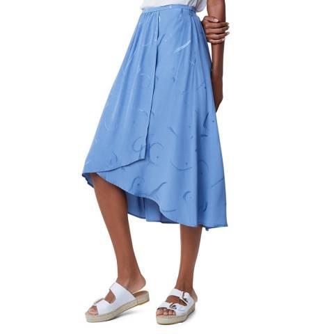 Great Plains Blue Wrap Over Midi Skirt